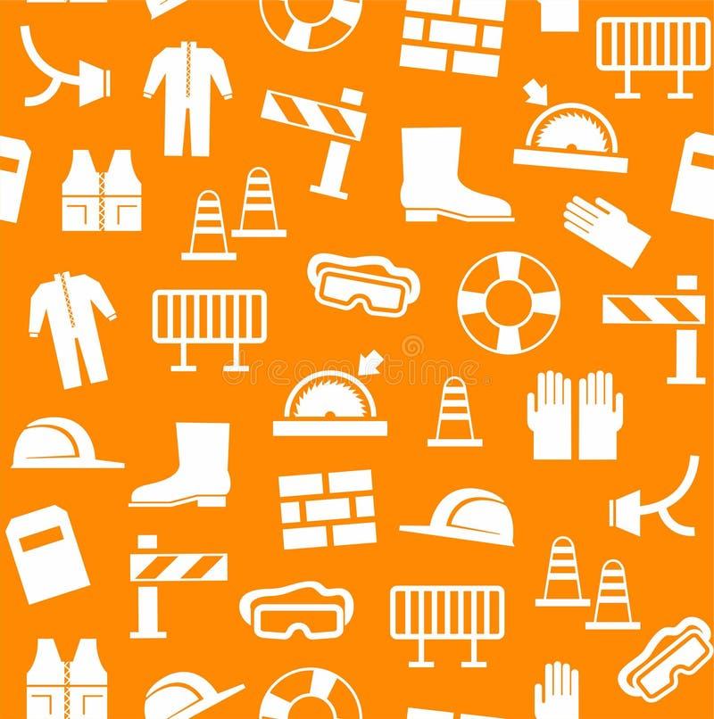 Επαγγελματική ασφάλεια, προσωπική ασφάλεια, υπόβαθρο, άνευ ραφής, πορτοκάλι ελεύθερη απεικόνιση δικαιώματος