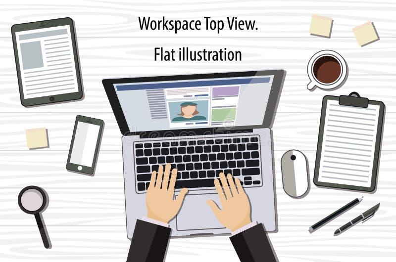 Επαγγελματική δημιουργική γραφική εργασία σχεδιαστών στο γραφείο γραφείων, σχεδιάζει μια διανυσματική απεικόνιση χρησιμοποιώντας  ελεύθερη απεικόνιση δικαιώματος