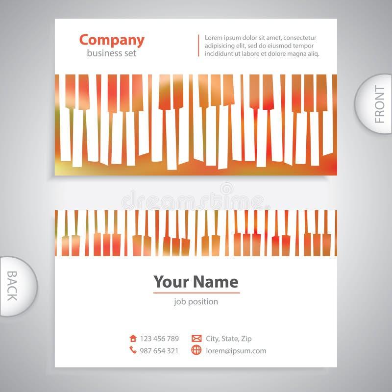 Επαγγελματική κάρτα - αφηρημένα μουσικά κλειδιά πιάνων απεικόνιση αποθεμάτων