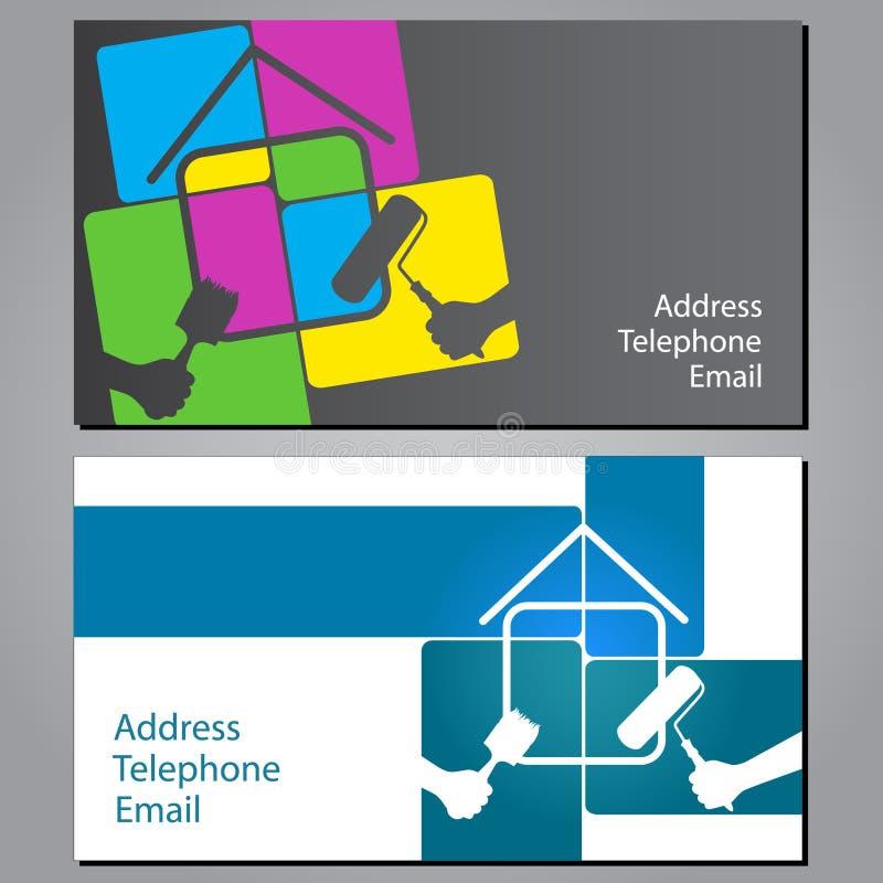 Επαγγελματική κάρτα για τη ζωγραφική των σπιτιών απεικόνιση αποθεμάτων
