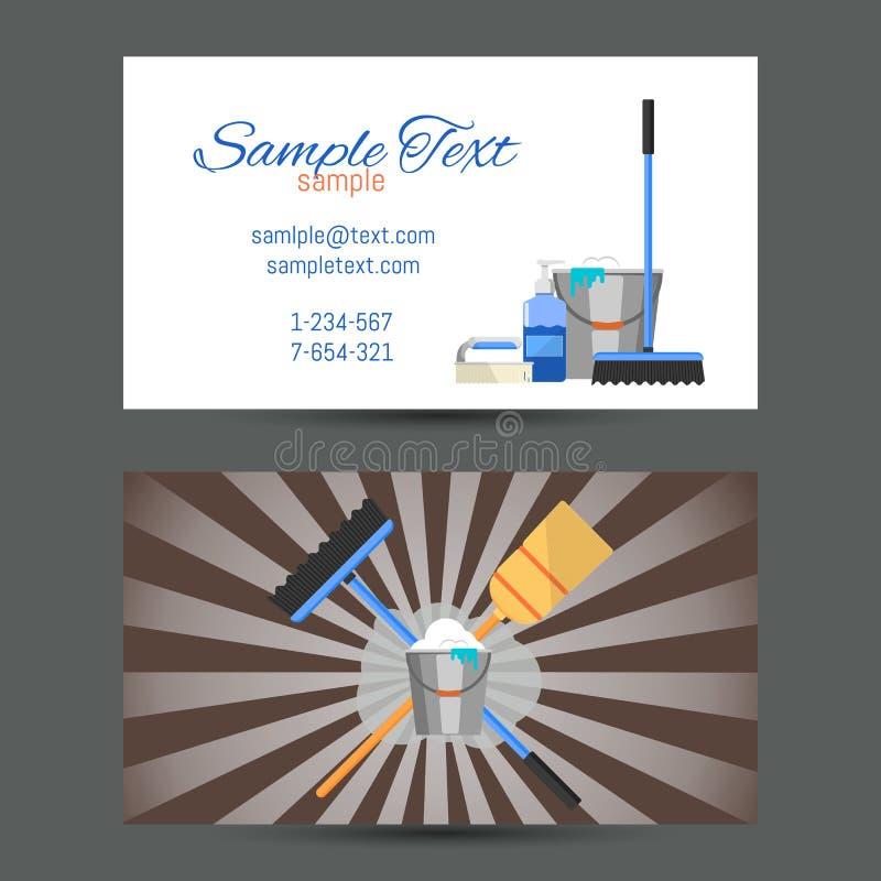 Επαγγελματική κάρτα της καθαρίζοντας υπηρεσίας απεικόνιση αποθεμάτων