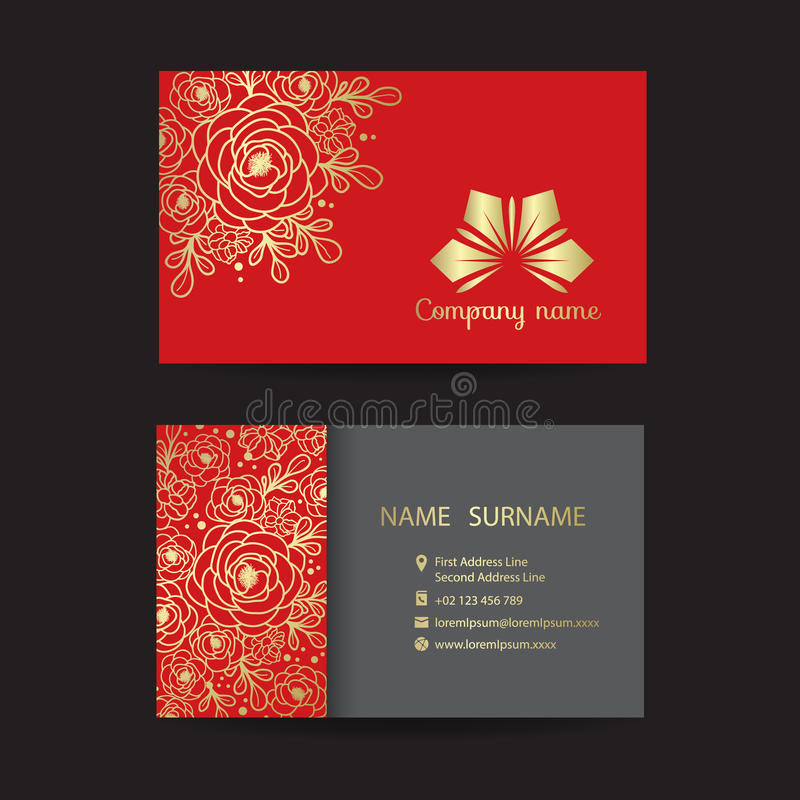 Επαγγελματική κάρτα - χρυσή ανθοδέσμη γραμμών συνόρων του floral και λογότυπου επιχείρησης στο κόκκινο διανυσματικό σχέδιο υποβάθ διανυσματική απεικόνιση