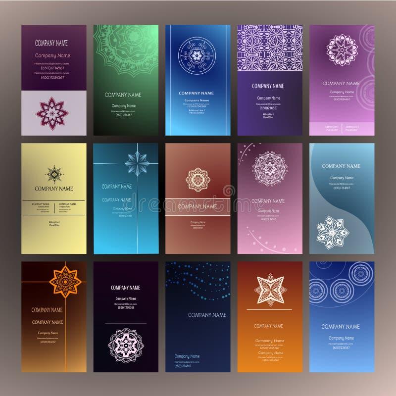 Επαγγελματική κάρτα 4 Mandalas γιόγκα διανυσματική απεικόνιση