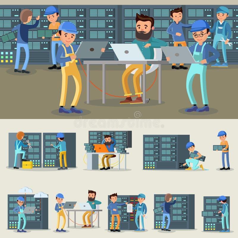 Επαγγελματική συλλογή εργαζομένων Datacenter απεικόνιση αποθεμάτων