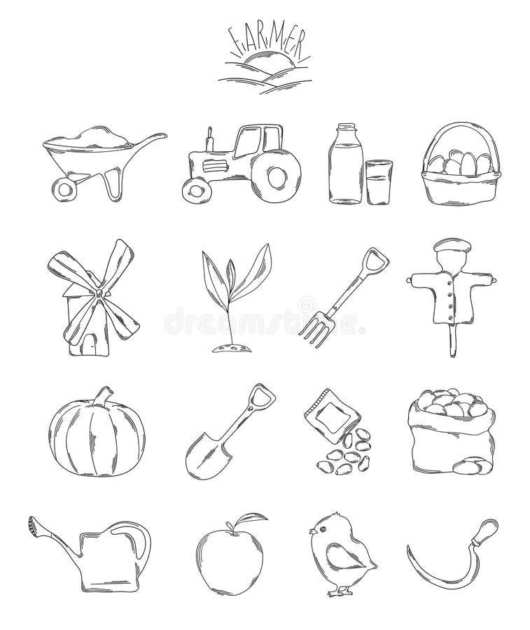Επαγγελματική συλλογή των εικονιδίων και των στοιχείων Ένα σύνολο αγρότη, αγροτικά συρμένα χέρι στοιχεία, doodles στο άσπρο υπόβα ελεύθερη απεικόνιση δικαιώματος