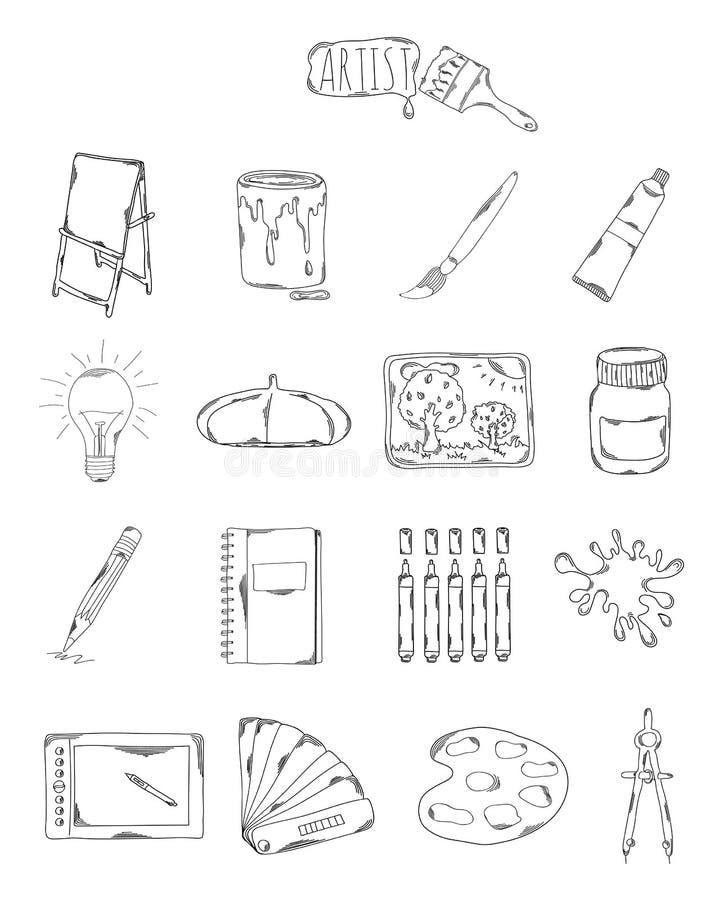 Επαγγελματική συλλογή των εικονιδίων και των στοιχείων Καθορισμένα καλλιτεχνικά συρμένα χέρι στοιχεία, doodles απομονωμένος στο ά διανυσματική απεικόνιση