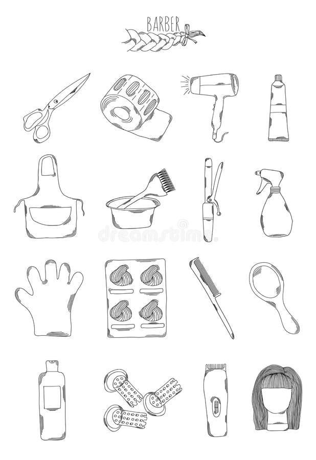 Επαγγελματική συλλογή των εικονιδίων και των στοιχείων Κομμωτήρια του Seth, συρμένα χέρι στοιχεία κουρέων, doodles απομονωμένος σ διανυσματική απεικόνιση