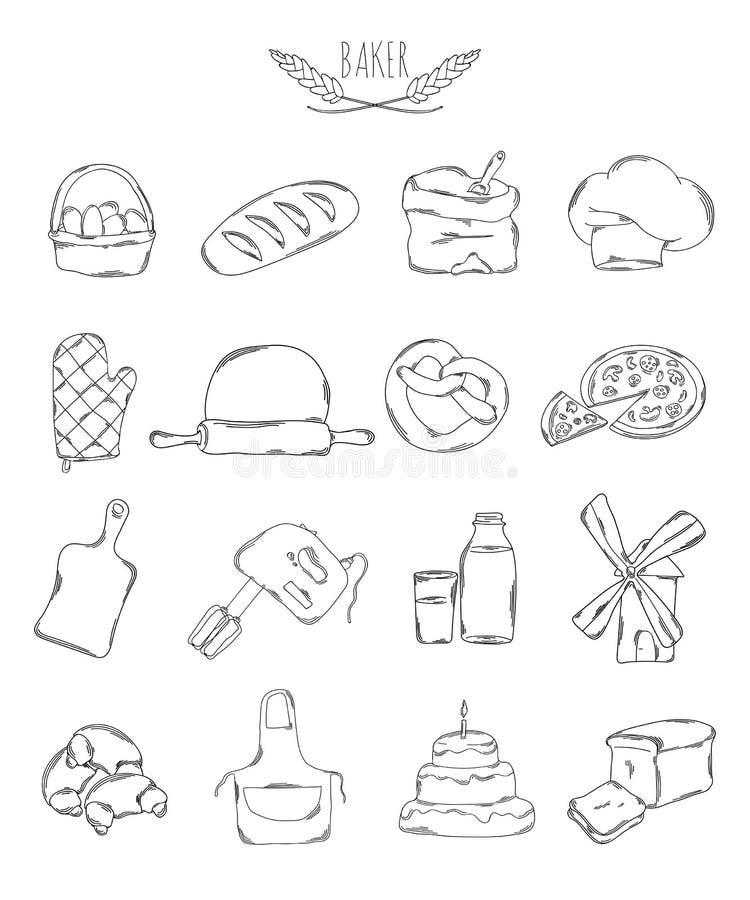 Επαγγελματική συλλογή των εικονιδίων και των στοιχείων Σύνολο μαγειρικών, ψησίματος και ζύμης συρμένων χέρι στοιχείων, doodles απ απεικόνιση αποθεμάτων
