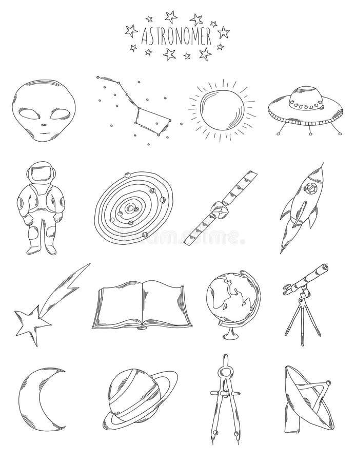 Επαγγελματική συλλογή των εικονιδίων και των στοιχείων Το αστρονομικό σύνολο συρμένων χέρι στοιχείων, doodles στο άσπρο υπόβαθρο ελεύθερη απεικόνιση δικαιώματος