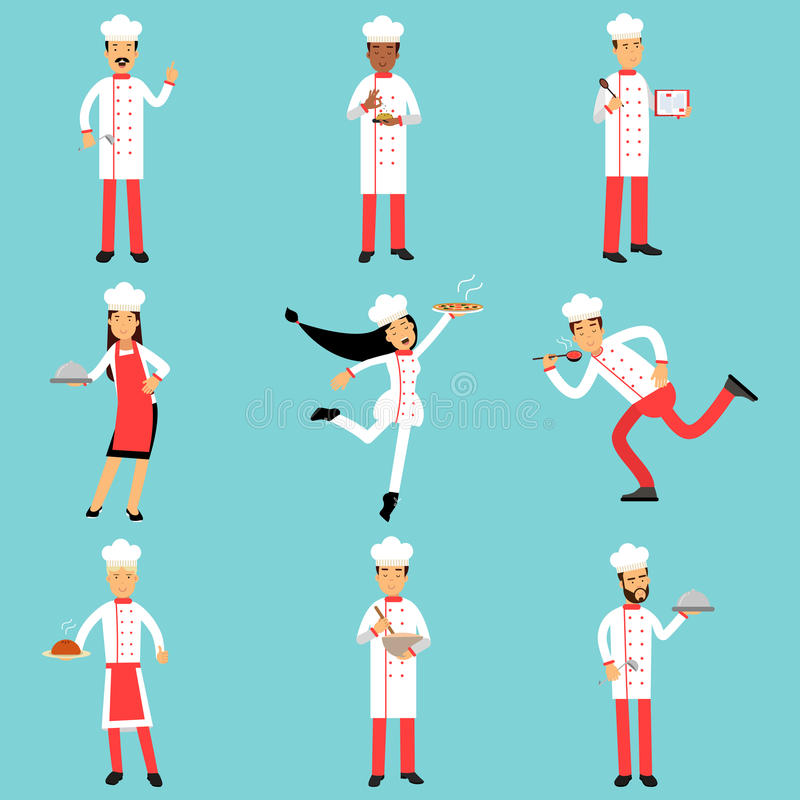 Επαγγελματικοί χαρακτήρες προσωπικού κουζινών στην εργασία Κύριο σύνολο μαγείρων και αρτοποιών ζωηρόχρωμων απεικονίσεων ελεύθερη απεικόνιση δικαιώματος