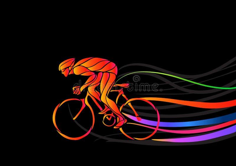 Επαγγελματικός ποδηλάτης που συμμετέχει σε μια φυλή ποδηλάτων απεικόνιση αποθεμάτων
