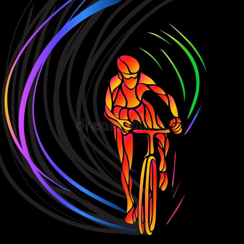 Επαγγελματικός ποδηλάτης που συμμετέχει σε μια φυλή ποδηλάτων διανυσματική απεικόνιση