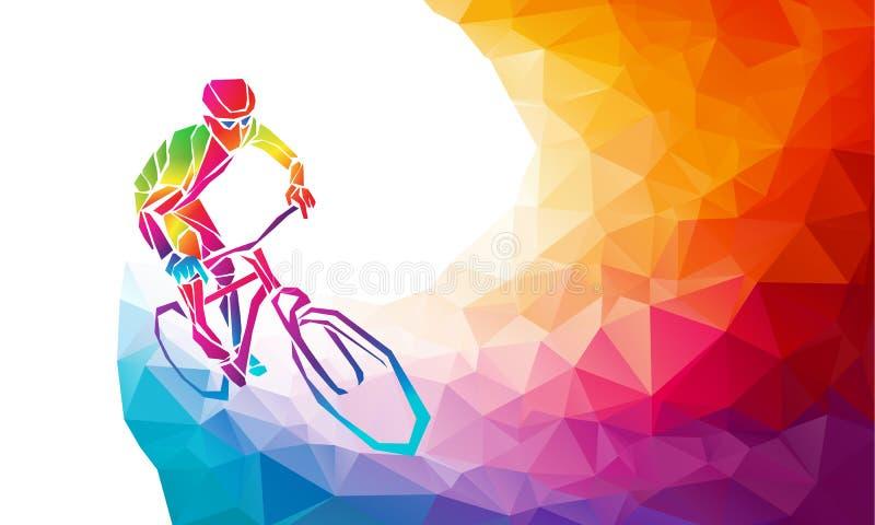 Επαγγελματικός ποδηλάτης που συμμετέχει σε μια φυλή ποδηλάτων Polygonal χαμηλός πολυ διανυσματική απεικόνιση