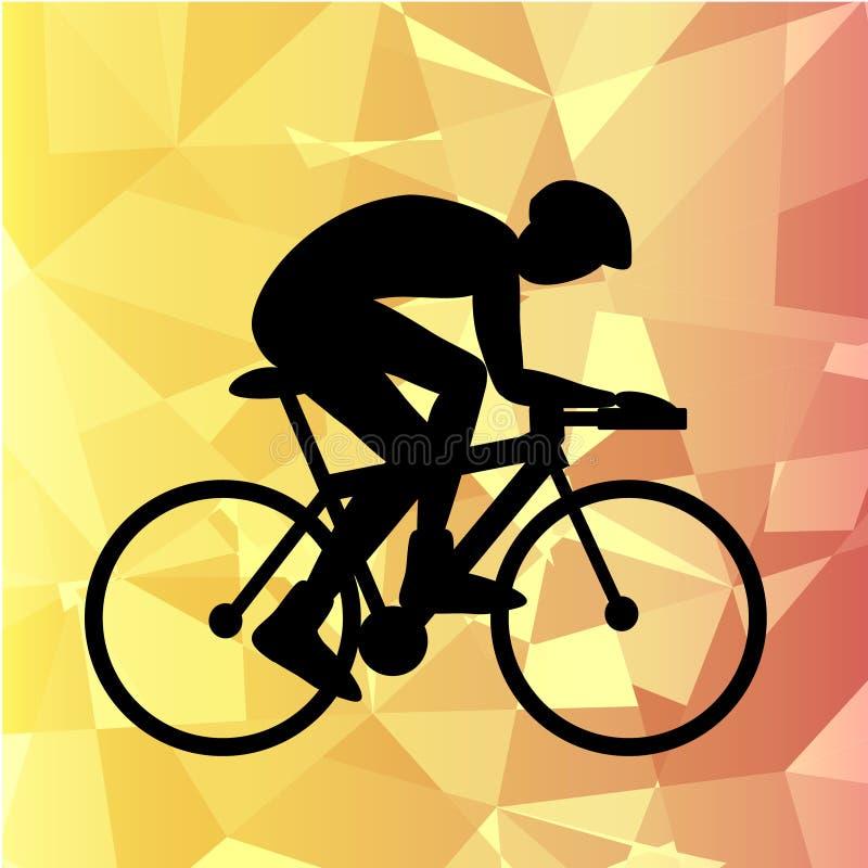 Επαγγελματικός ποδηλάτης που συμμετέχει σε μια φυλή ποδηλάτων sillhoutte διανυσματική απεικόνιση