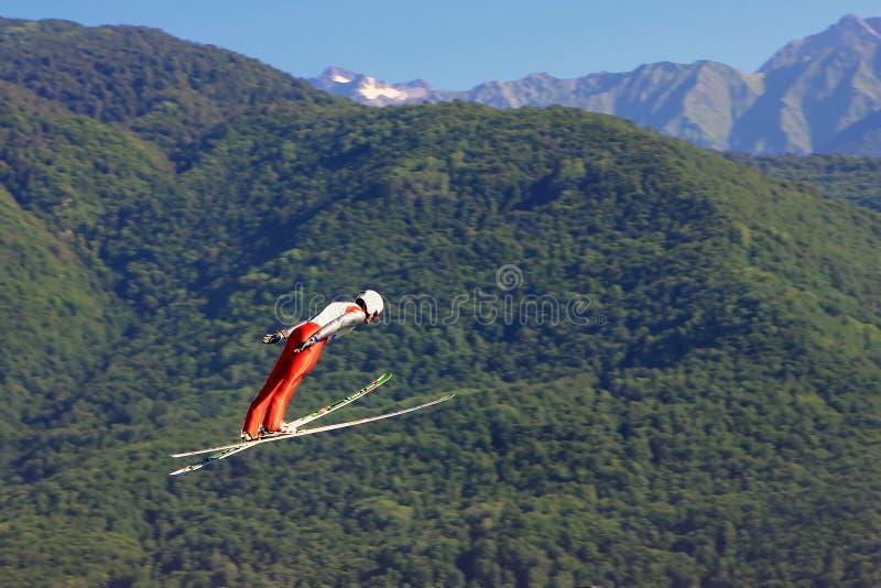 Επαγγελματικός σκιέρ που πηδά στο πράσινο υπόβαθρο βουνών στο καλοκαίρι στοκ εικόνες με δικαίωμα ελεύθερης χρήσης