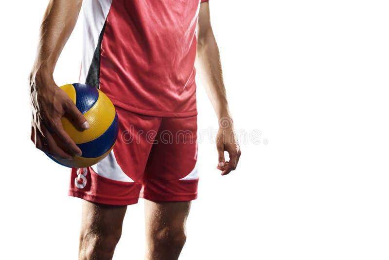 Επαγγελματικός φορέας valleyball που απομονώνεται στο λευκό στοκ φωτογραφία