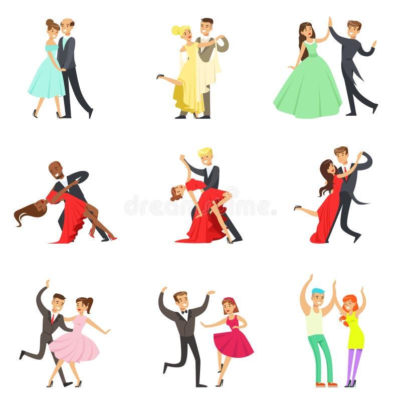 Επαγγελματικό τανγκό χορού ζεύγους χορευτών, βαλς και άλλοι χοροί στη συλλογή Dancefloor διαγωνισμού χορού ελεύθερη απεικόνιση δικαιώματος