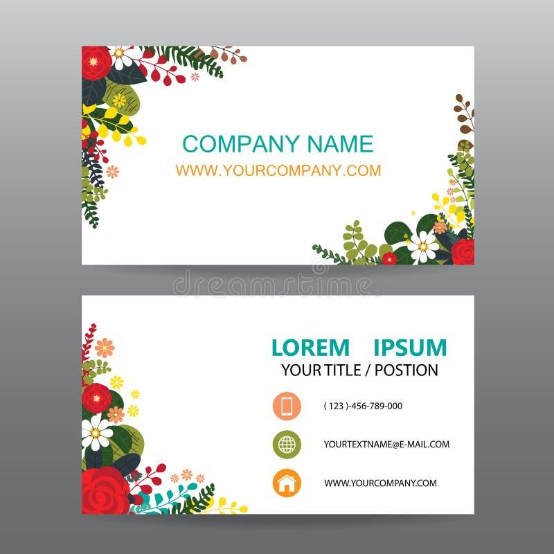 Επαγγελματικών καρτών υπόβαθρο, που διακοσμείται διανυσματικό με το πλαίσιο λουλουδιών ελεύθερη απεικόνιση δικαιώματος