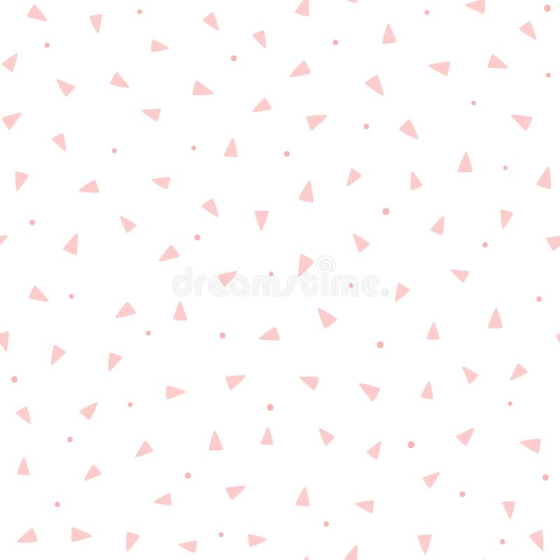 Επανάληψη των ρόδινων τριγώνων και των στρογγυλών σημείων στο άσπρο υπόβαθρο Χαριτωμένο γεωμετρικό άνευ ραφής σχέδιο διανυσματική απεικόνιση