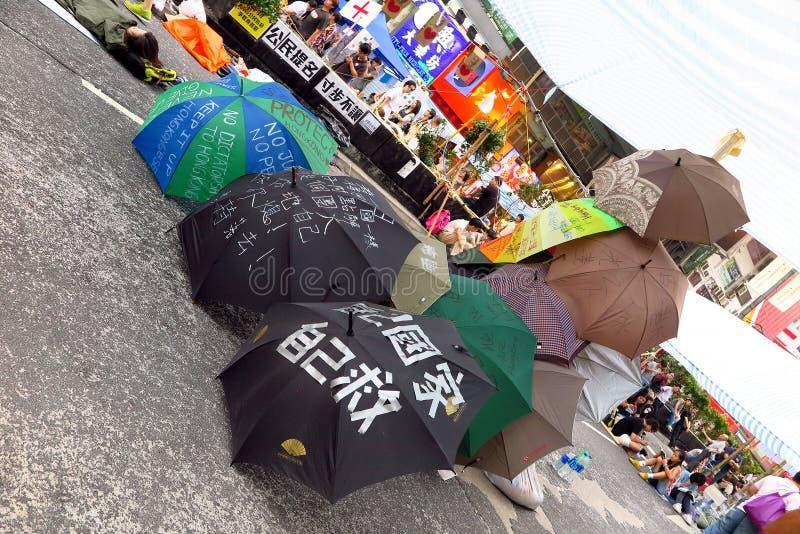 Επανάσταση ομπρελών σε Mong Kok στοκ εικόνες