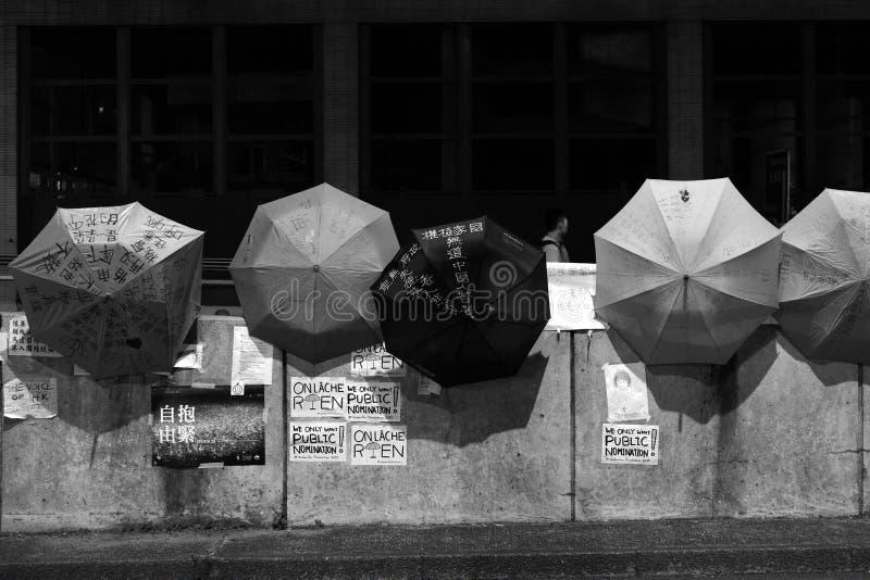 Επανάσταση ομπρελών στον κόλπο υπερυψωμένων μονοπατιών στοκ εικόνα