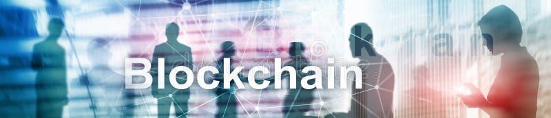 Επανάσταση Blockchain, τεχνολογία καινοτομίας στη σύγχρονη επιχείρηση Έμβλημα επιγραφών ιστοχώρου απεικόνιση αποθεμάτων
