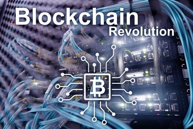 Επανάσταση Blockchain, τεχνολογία καινοτομίας στη σύγχρονη επιχείρηση Οπτική διεπαφή συνδετήρων ινών στοκ φωτογραφία