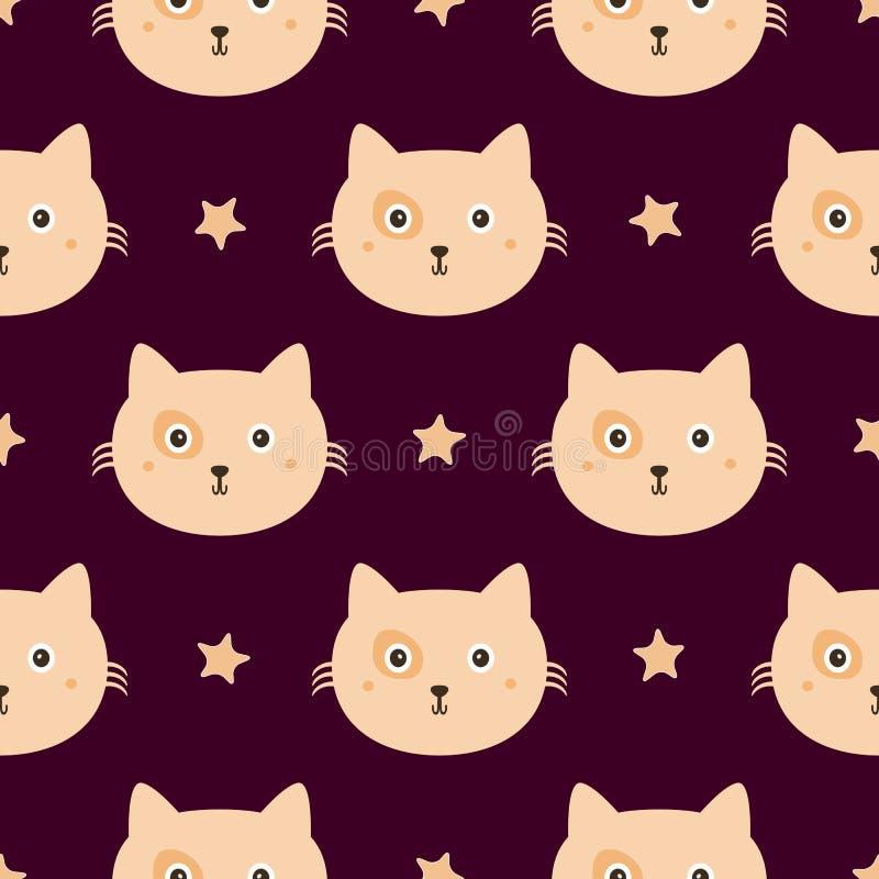 Επαναλαμβανόμενα αστέρια και πρόσωπα των γατών χαριτωμένο πρότυπο άνευ ραφής Ατελείωτη τυπωμένη ύλη για τα παιδιά απεικόνιση αποθεμάτων