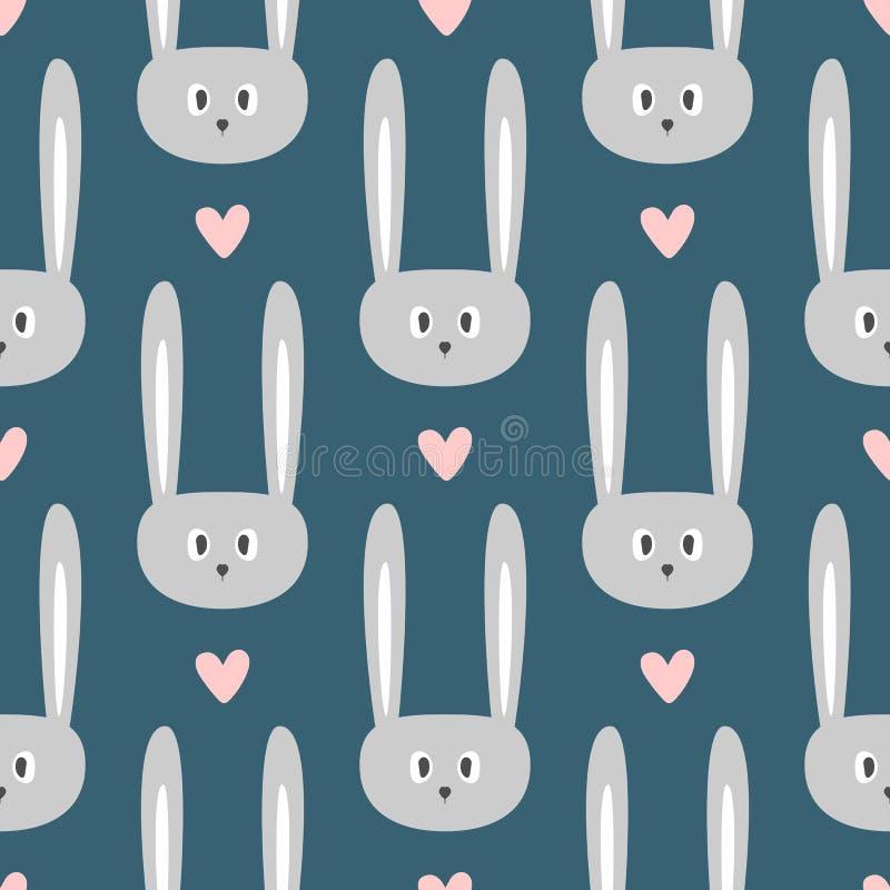 Επαναλαμβανόμενα πρόσωπα των γλυκών κουνελιών και των καρδιών χαριτωμένο πρότυπο άνευ ραφής απεικόνιση αποθεμάτων