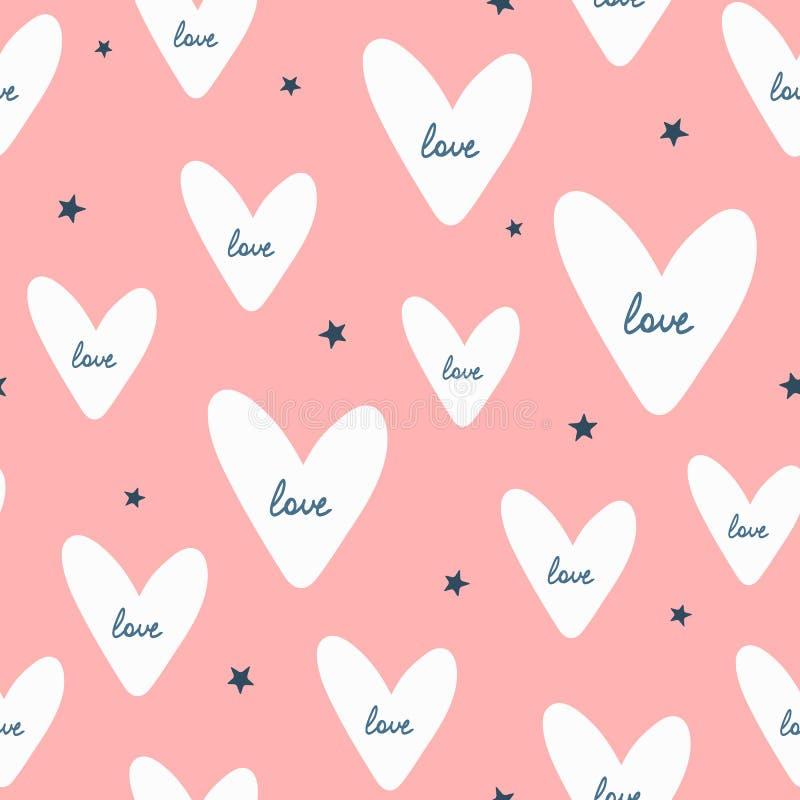 Επαναλαμβανόμενες αστέρια και καρδιές με τη χειρόγραφη αγάπη κειμένων ρομαντικός άνευ ραφής προ&tau ελεύθερη απεικόνιση δικαιώματος