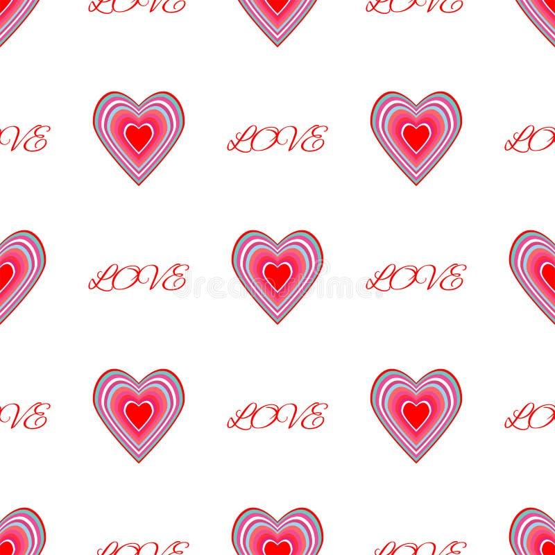 Επαναλαμβανόμενες καρδιές και αγάπη κειμένων Ρομαντικό άνευ ραφής σχέδιο r διανυσματική απεικόνιση