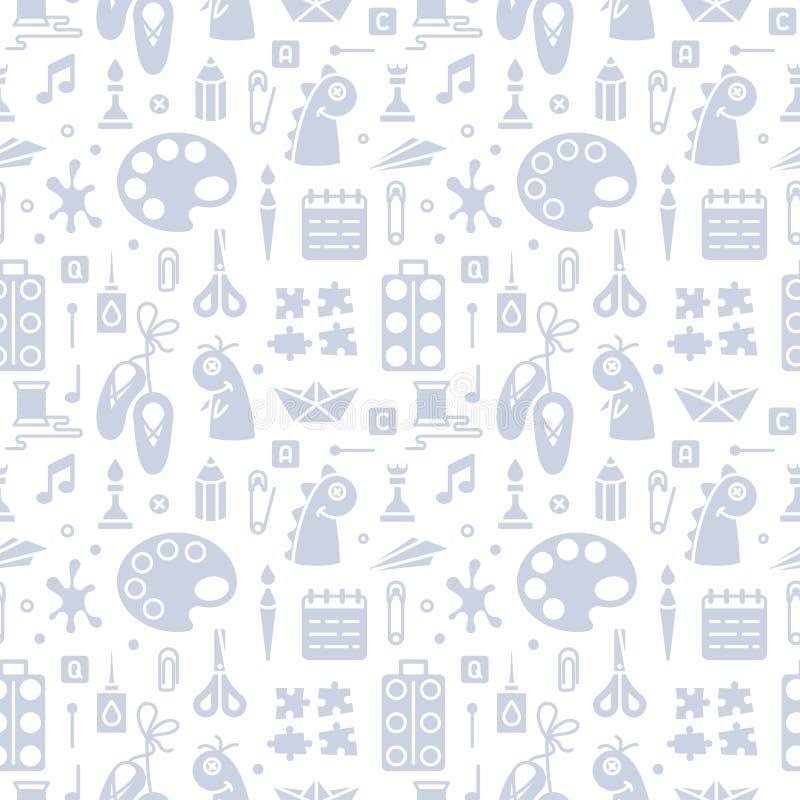 Επαναλαμβανόμενο άνευ ραφής σχέδιο με τα αντικείμενα για τα δημιουργικά μαθήματα παιδιών στο επίπεδο ύφος ελεύθερη απεικόνιση δικαιώματος