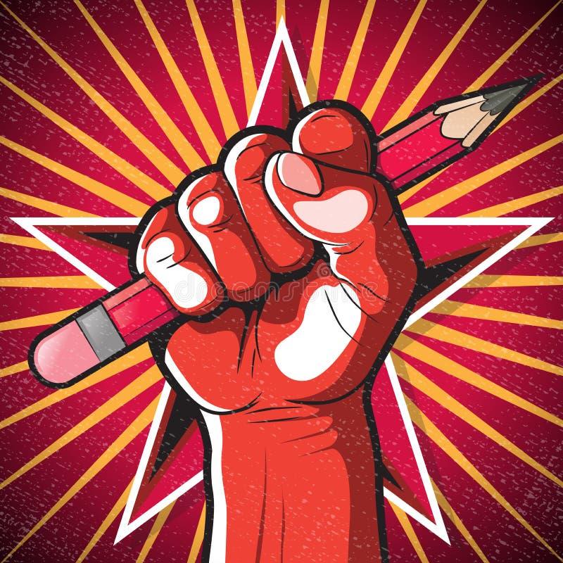 Επαναστατικά Punching πυγμή και σημάδι μολυβιών ελεύθερη απεικόνιση δικαιώματος