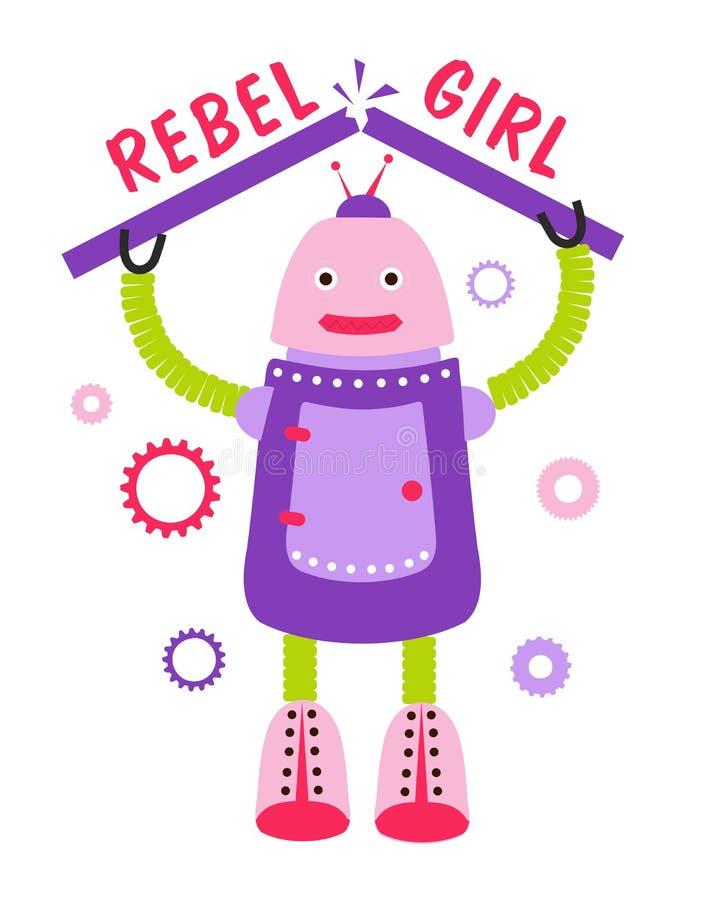 Επαναστατικό κορίτσι Ρομπότ κινούμενων σχεδίων, χαρακτήρας με το κινητήριο απόσπασμα απεικόνιση αποθεμάτων