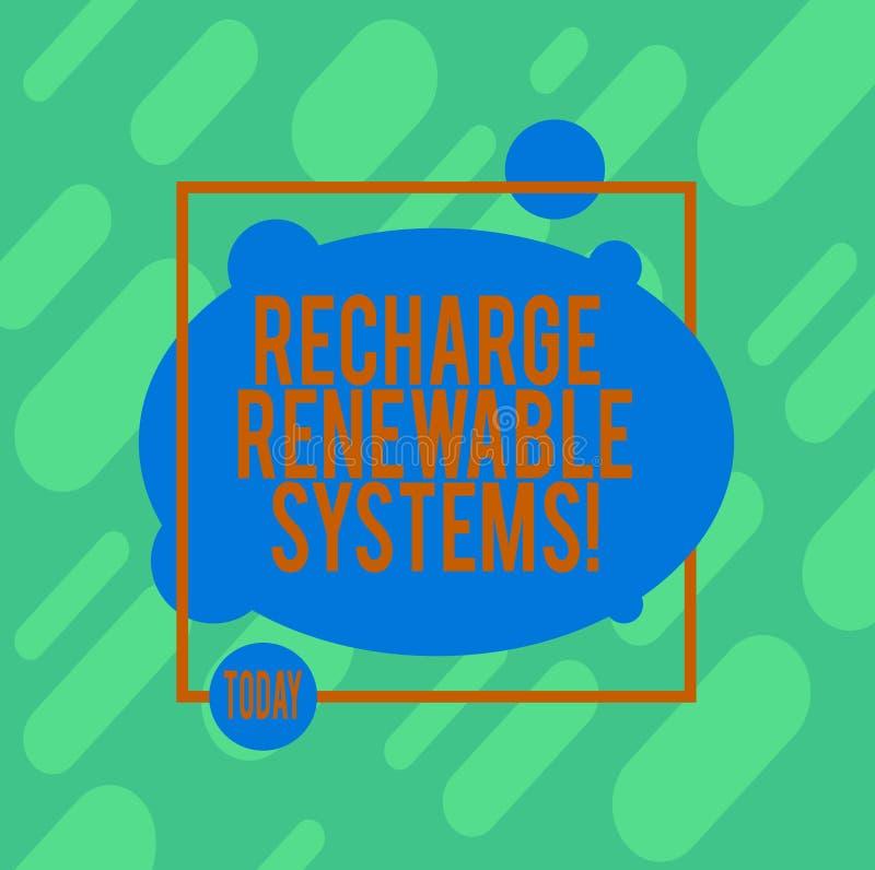Επαναφόρτιση γραψίματος κειμένων γραφής ανανεώσιμα συστήματα Έννοια που σημαίνει την καθαρή και βιώσιμη ενέργεια και μη ρυπαντικό διανυσματική απεικόνιση