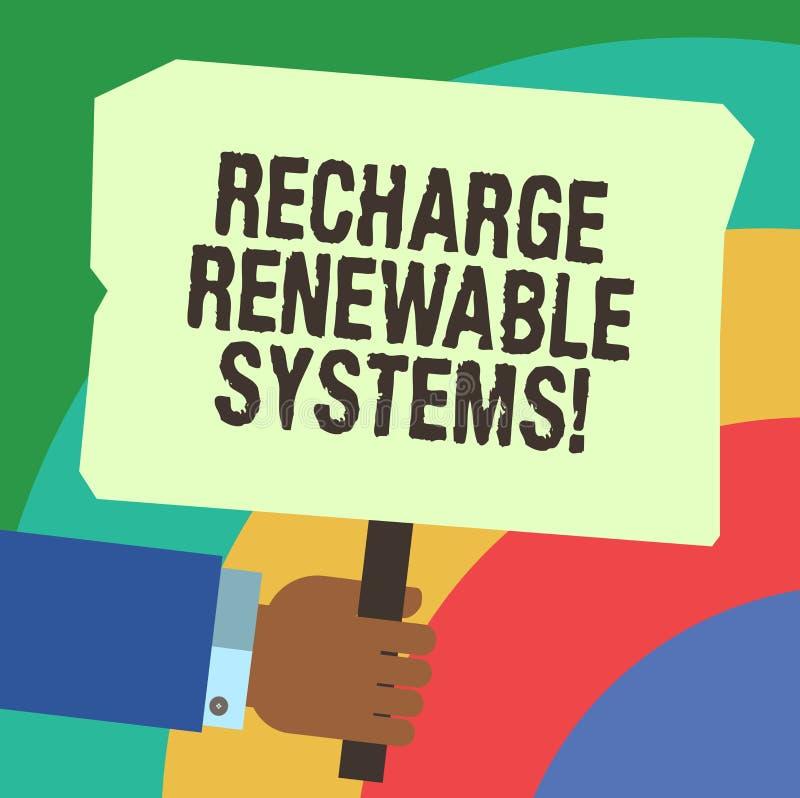 Επαναφόρτιση γραψίματος κειμένων γραφής ανανεώσιμα συστήματα Έννοια που σημαίνει την καθαρή και βιώσιμη ενέργεια και τη μη ρυπαντ ελεύθερη απεικόνιση δικαιώματος