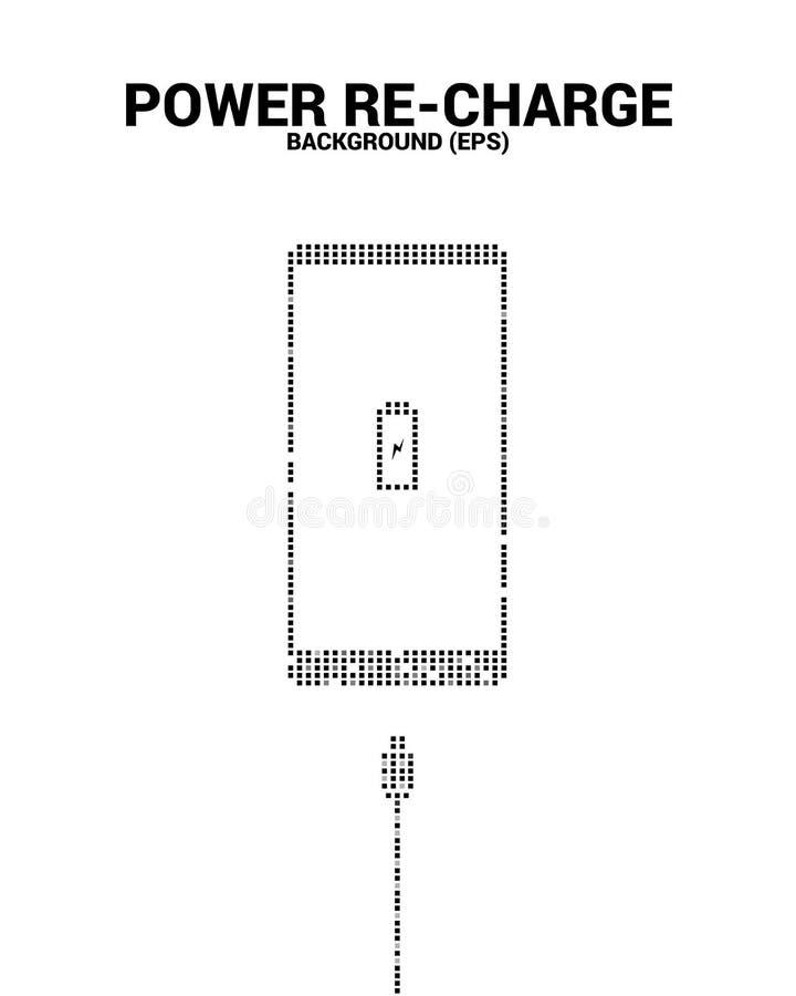 Επαναφόρτιση δύναμης στο κινητό τηλέφωνο με το βούλωμα φορτιστών από το εικονοκύτταρο απεικόνιση αποθεμάτων