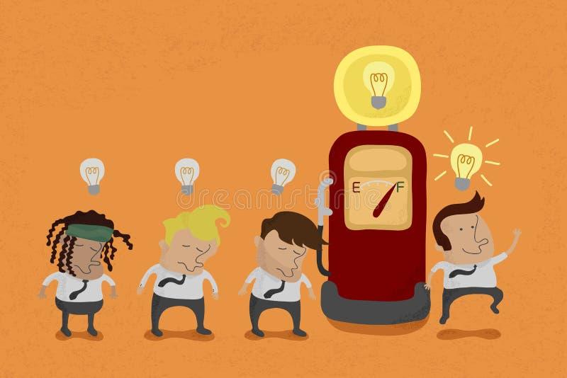 Επαναφόρτιση επιχειρηματιών η ιδέα διανυσματική απεικόνιση