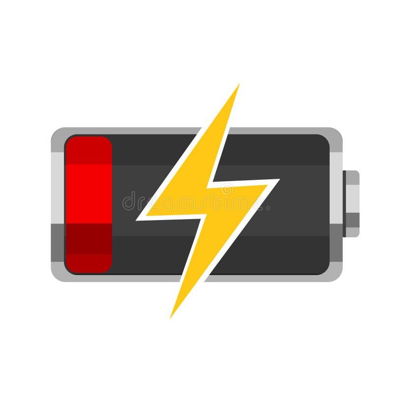 Επαναφόρτιση μιας νεκρής μπαταρίας σε ένα λευκό logotype ελεύθερη απεικόνιση δικαιώματος