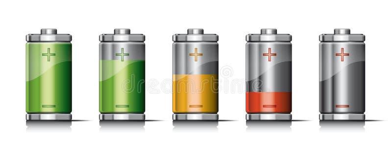 Επαναφόρτιση της μπαταρίας με τα εικονίδια διανυσματική απεικόνιση