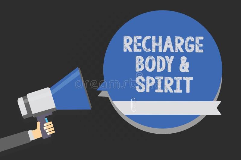 Επαναφόρτιση BodyandSpirit γραψίματος κειμένων γραφής Η έννοια έννοιας γεμίζει την ενέργειά σας μέσω της χαλάρωσης και της κατοχή απεικόνιση αποθεμάτων