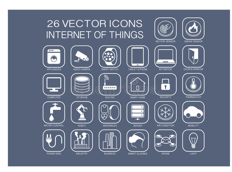 Επαναχρησιμοποιήσιμα εικονίδια απεικόνισης για Διαδίκτυο των θεμάτων πραγμάτων όπως την εγχώρια αυτοματοποίηση, έξυπνο σπίτι