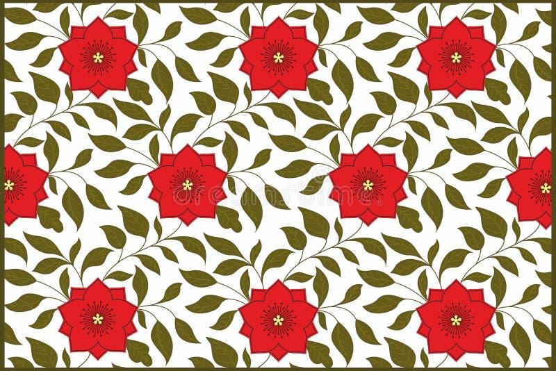 Επαναλαμβάνοντας το υπόβαθρο με τα λουλούδια - κόκκινο λουλούδι στοκ εικόνες