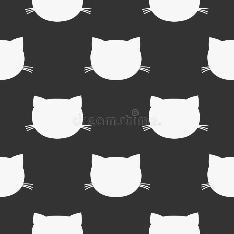 Επαναλαμβανόμενο κεφάλι γατών ` s πρότυπο άνευ ραφής Άσπρες σκιαγραφίες σε ένα μαύρο υπόβαθρο απεικόνιση αποθεμάτων