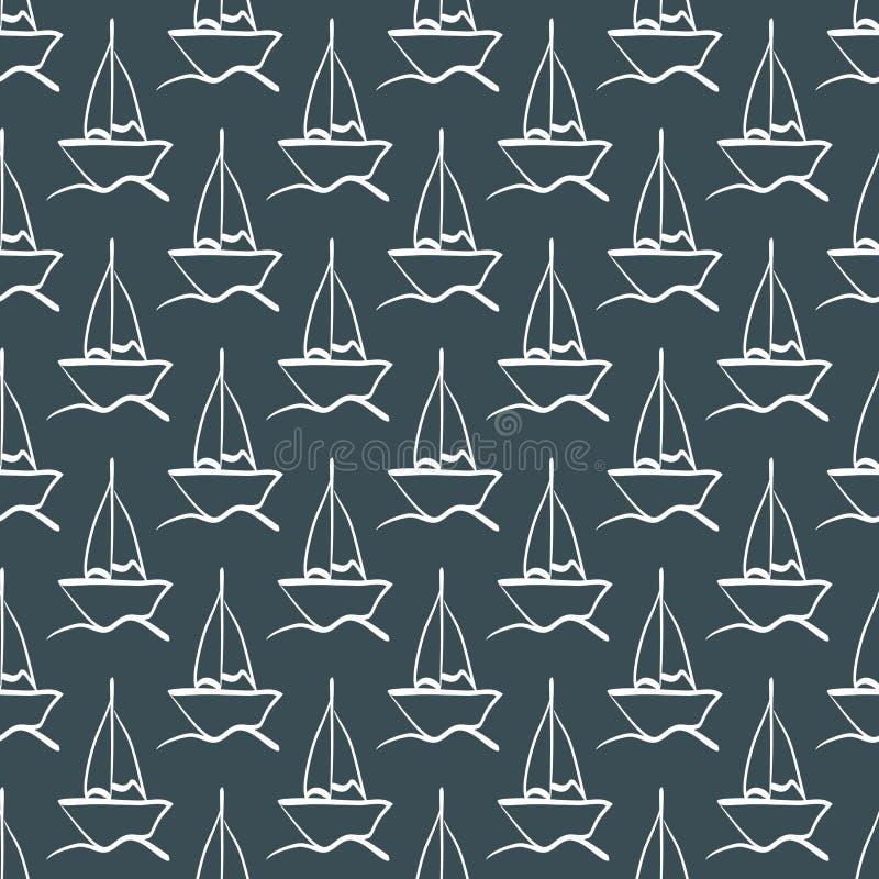Επαναλαμβανόμενο σκίτσο του χεριού sailboat στα κύματα πρότυπο άνευ ραφής ελεύθερη απεικόνιση δικαιώματος