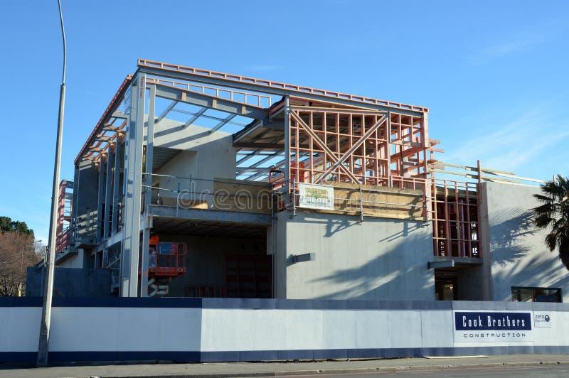 Επανοικοδόμηση σεισμού Christchurch - το νέο ξενοδοχείο του Carlton παίρνει τη μορφή. στοκ εικόνα με δικαίωμα ελεύθερης χρήσης