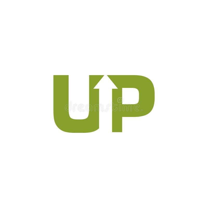 ΕΠΑΝΩ στο λογότυπο επιστολών με την ανάπτυξη του βέλους διανυσματική απεικόνιση