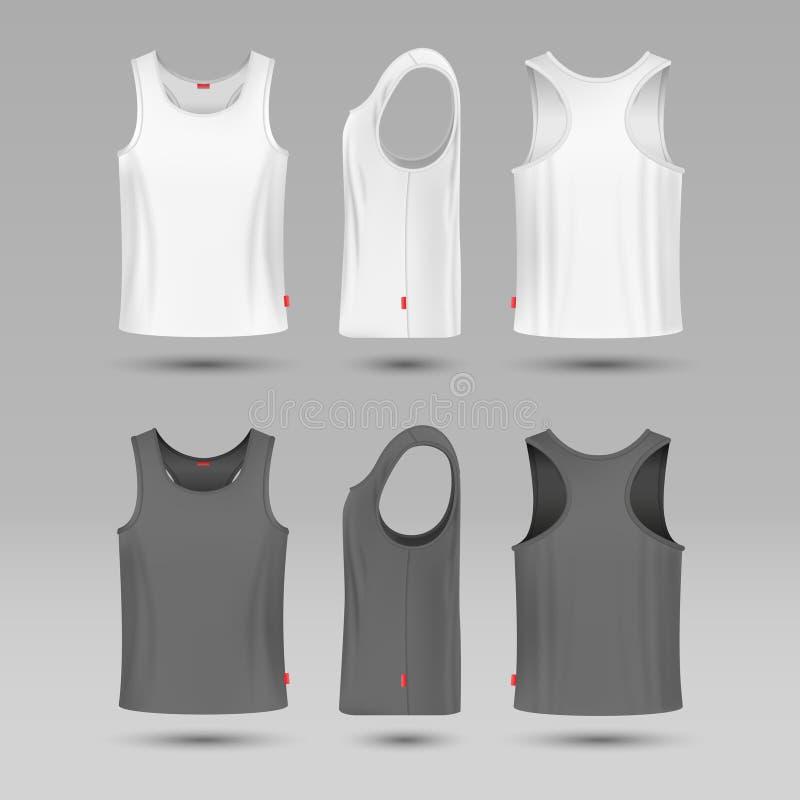 Επανδρώνει την άσπρη κενή φανέλα δεξαμενών Αρσενικό πουκάμισο χωρίς διανυσματικό πρότυπο μανικιών ελεύθερη απεικόνιση δικαιώματος