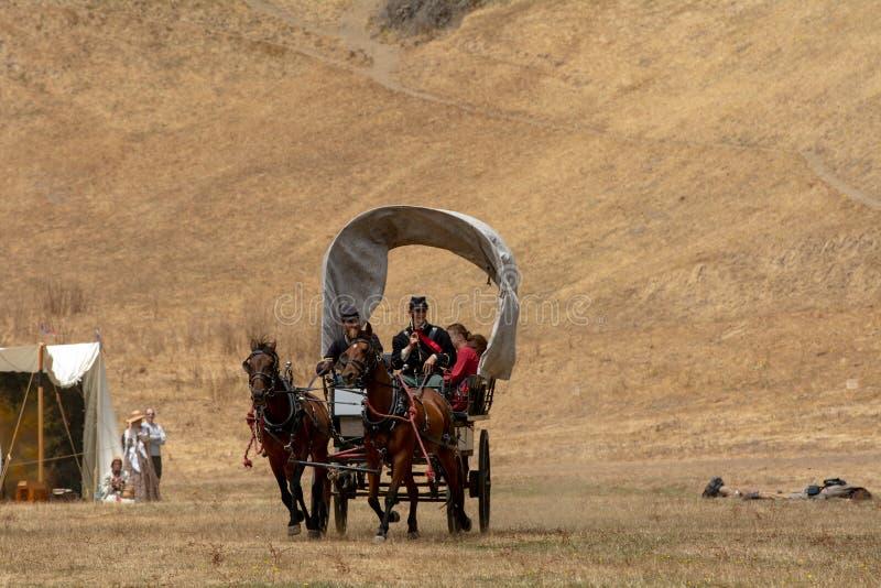 Επαν-enactement εμφύλιου πολέμου στους μύλους Duncans, ασβέστιο, ΗΠΑ στοκ φωτογραφίες