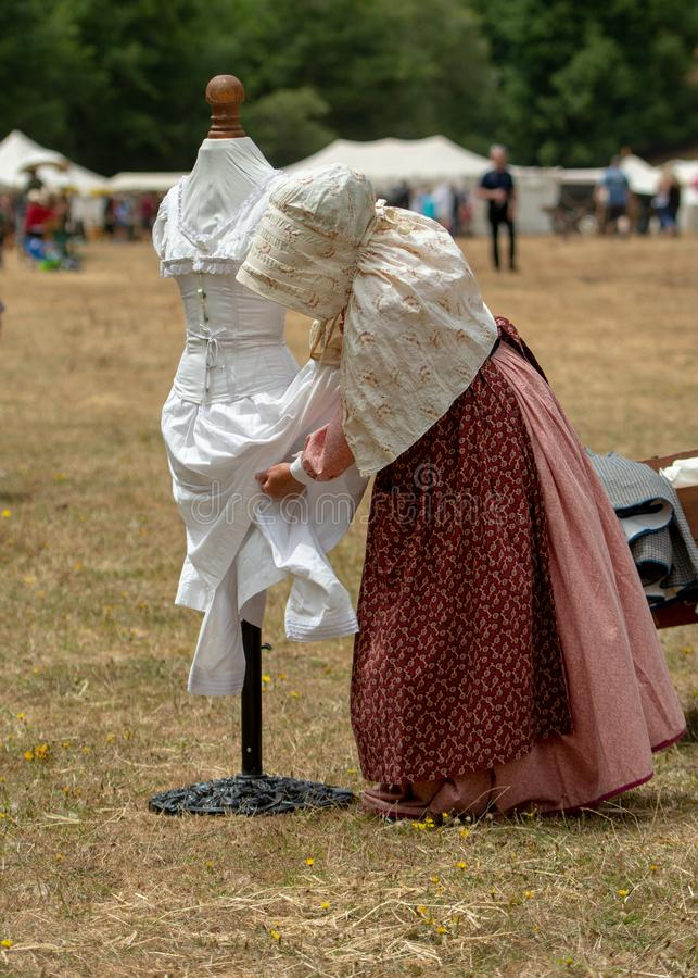 Επαν-enactement εμφύλιου πολέμου στους μύλους Duncans, ασβέστιο, ΗΠΑ στοκ φωτογραφία